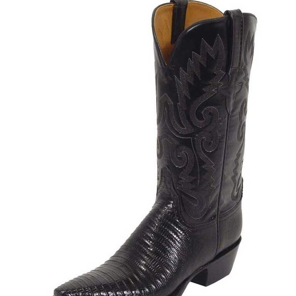Lucchese Shoes - LUCCHESE CLASSICS L4033  BLACK LIZARD COWBOY BOOT